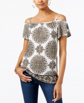 Блузка Printed Cold-Shoulder Top